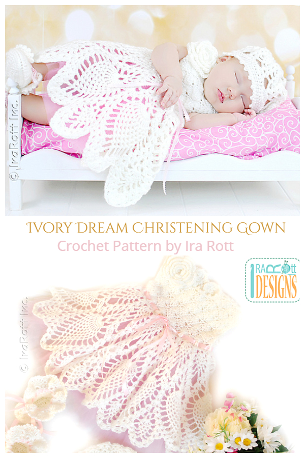 Crochet Pineapple Baby Christening Gown Crochet Pattern
