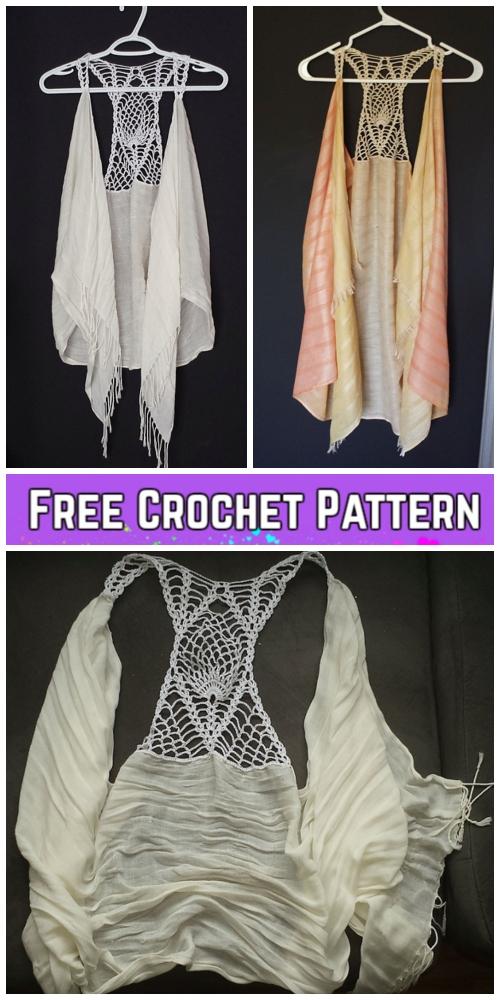 Crochet Pineapple Racer Back Scarf Vest Free Crochet Pattern for Ladies
