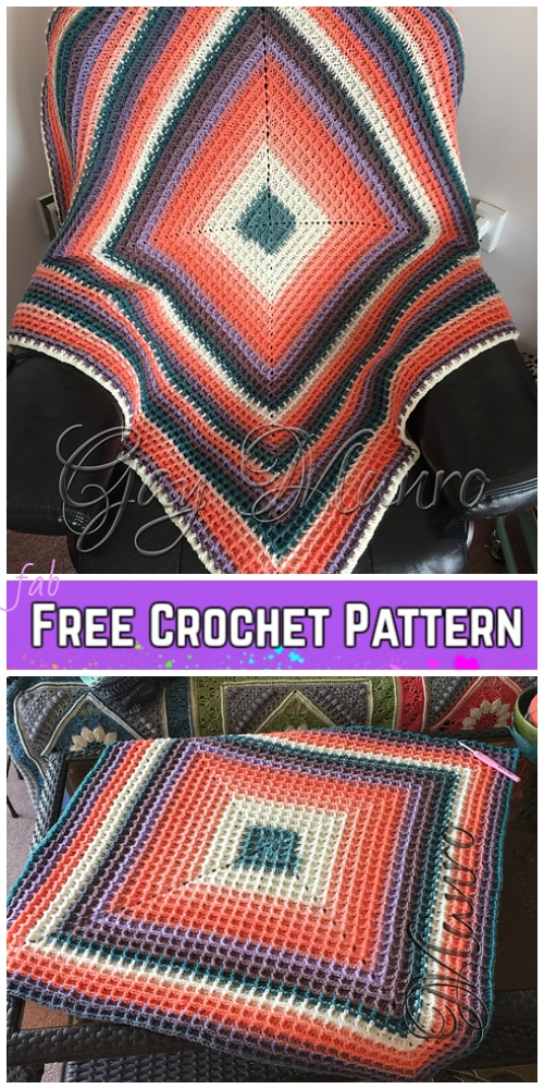 Crochet Raised Squared Waffle Stitch Blanket Free Crochet Pattern