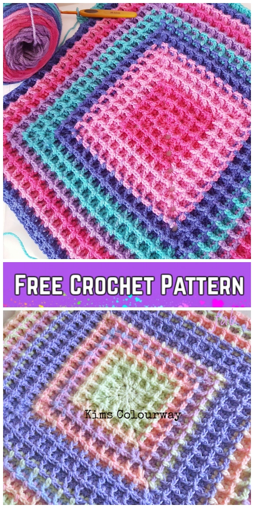 Crochet Raised Squared Waffle Stitch Blanket Free Crochet Patterns - Video