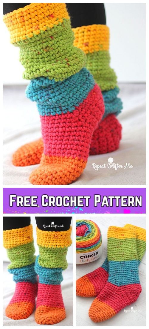 Crochet Women Rainbow Slouchy Slippers Socks Free Crochet Pattern