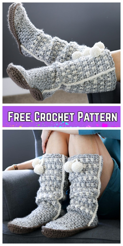 Crochet Women Sierra Slouchy Slippers Free Crochet Pattern