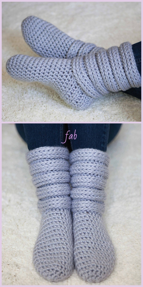 Crochet Women Slouchy Slipper Boots Crochet Pattern