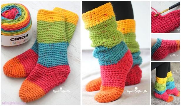Crochet Women Slouchy Slipper Socks Free Crochet Patterns & Paid