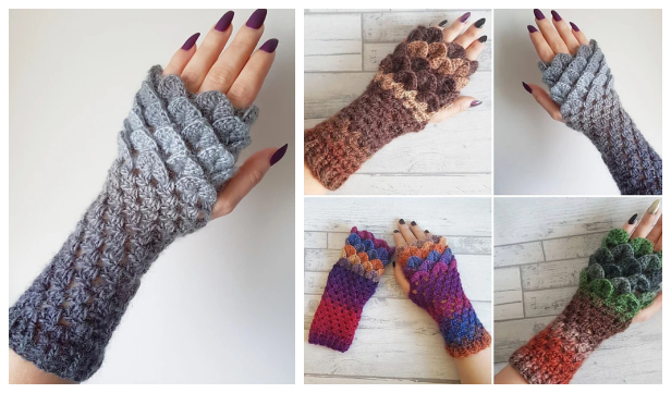 Dragon Scale Fingerless Gloves Free Crochet Patterns