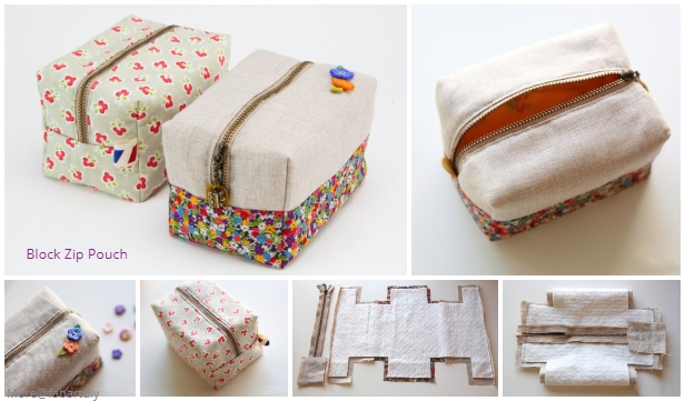 DIY Block Zip Pouch Sew Pattern Tutorial