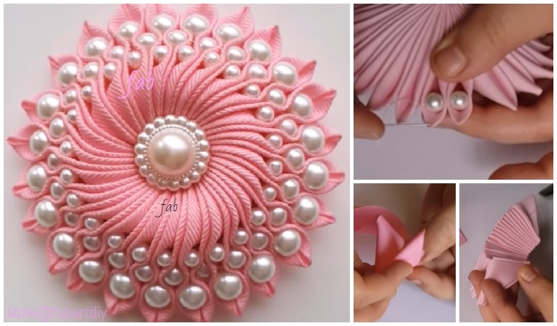 Fabulous DIY Ribbon Flower with Beads Tutorial - Video