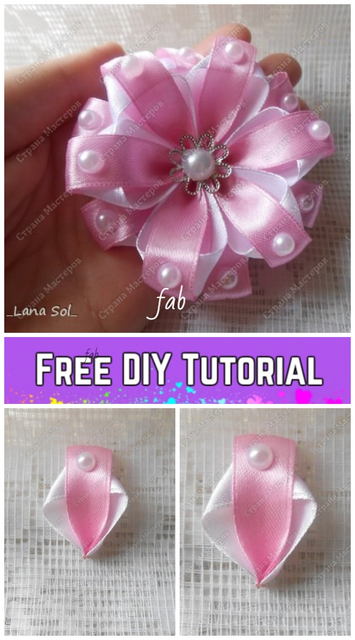 Fabulous DIY Ribbon Flower with Beads Tutorial
