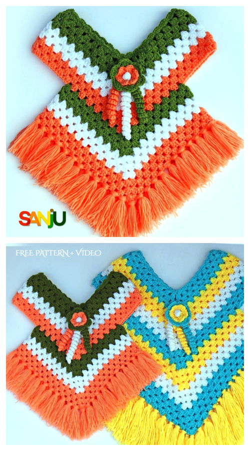 Granny Stitch Poncho Free Crochet Patterns + Video