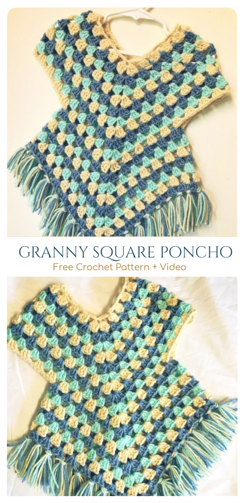 Crochet Granny Stitch Poncho Dress Free Crochet Patterns + Video tutorial
