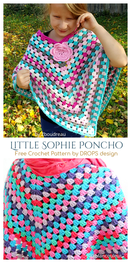 Crochet Little Sophie Granny Stitch Poncho Free Crochet Pattern