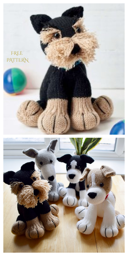 Knit Amigurumi Dog Toy Sofites Free Knitting Patterns - Free Freddie the Deradog Schnauzer  dog toy pattern