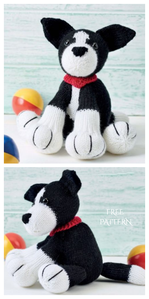 Knit Amigurumi Dog Toy Sofites Free Knitting Patterns - Free FShep The Deradog Border Collie  dog toy pattern