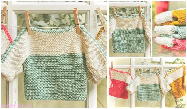 Easy Garter Stitch French Macaroon Baby Sweater Free