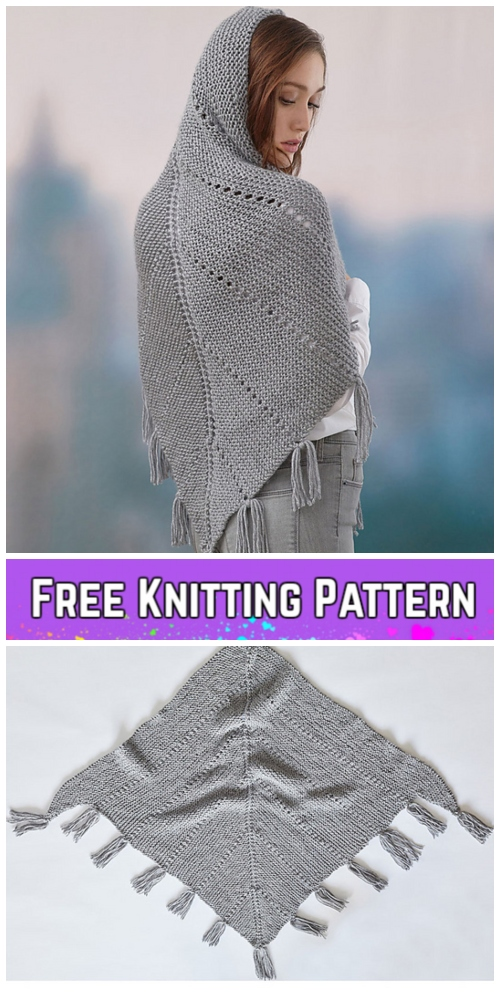 Knit Hoodie Shawl Free Knitting Pattern for Ladies