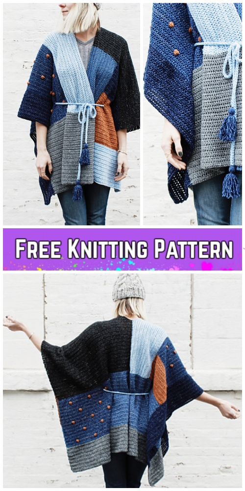 Knit Ladies Shades of Indigo Poncho Free Knitting Pattern