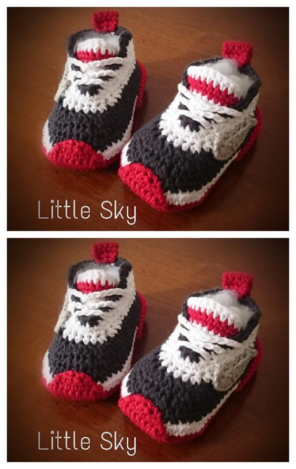 Nike Style Baby Sneaker Booties Crochet Pattern