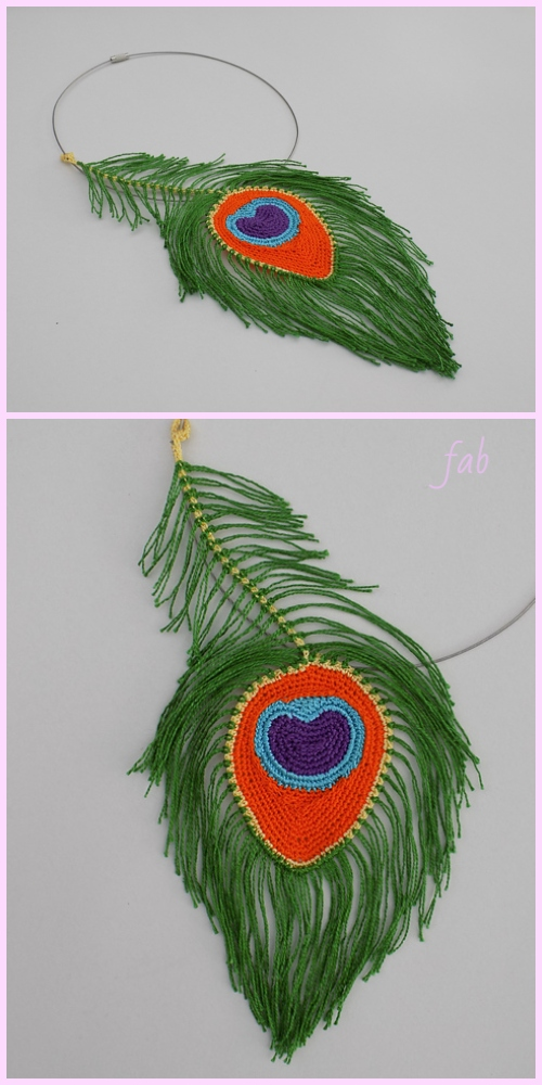 Macrame Peacock feather necklace Crochet Pattern