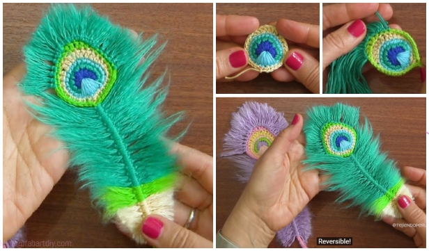 Macrame Peacock Feathers Free Crochet Pattern and Video Tutorial