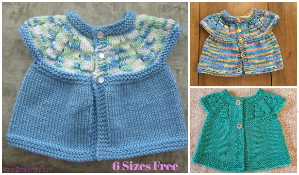 Girl's All-in-One Sleeveless Sweater Top Cardigan Free Knitting Pattern (Newborn-6Y)