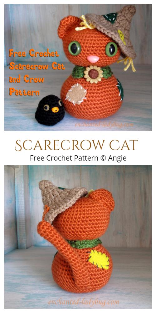 Crochet Halloween Scarecrow CatAmigurumi Free Pattern
