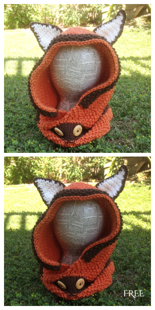 Hooded Fox Cowl Free Crochet Pattern