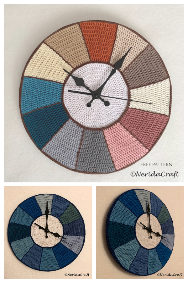 "Wall Clock ""no time"" Free Crochet Patterns"