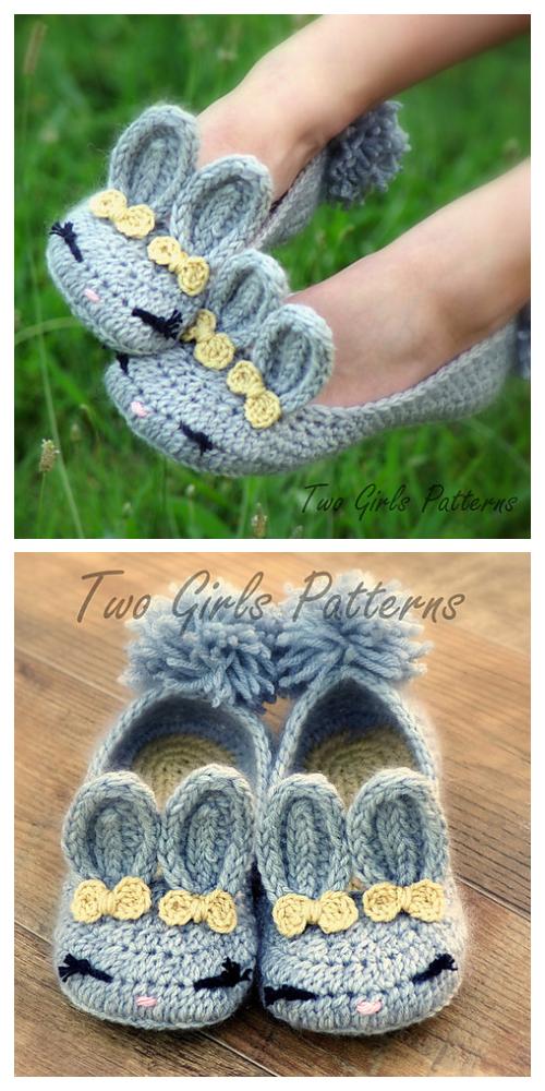Women Bunny House Slippers Crochet Patterns