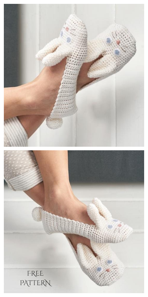 Women Bunny Slippers Free Crochet Patterns