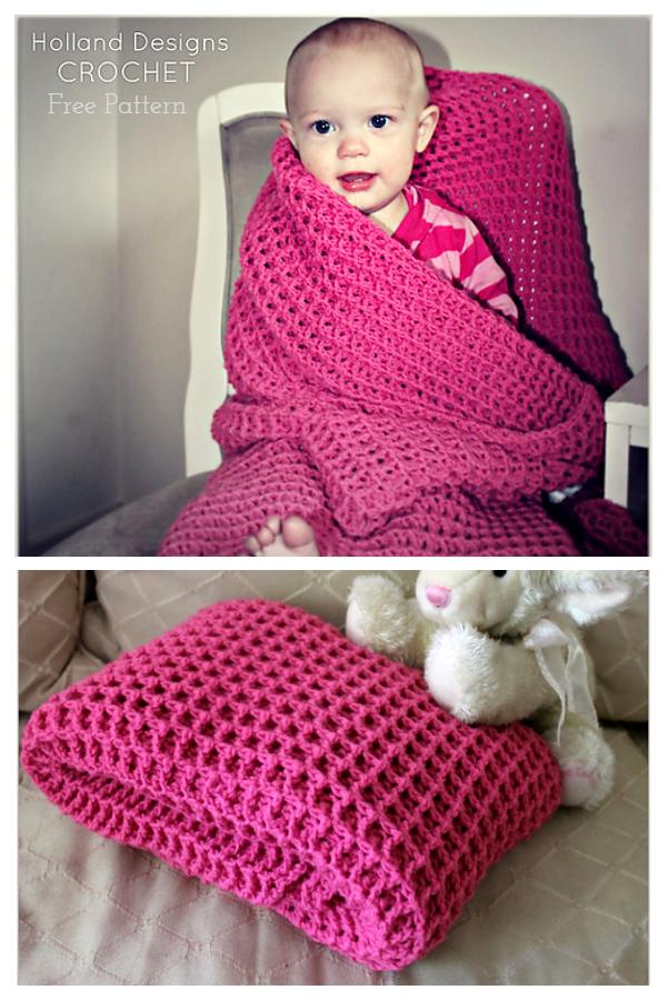 Reversible Waffle Stitch Baby Blanket Free Crochet Patterns
