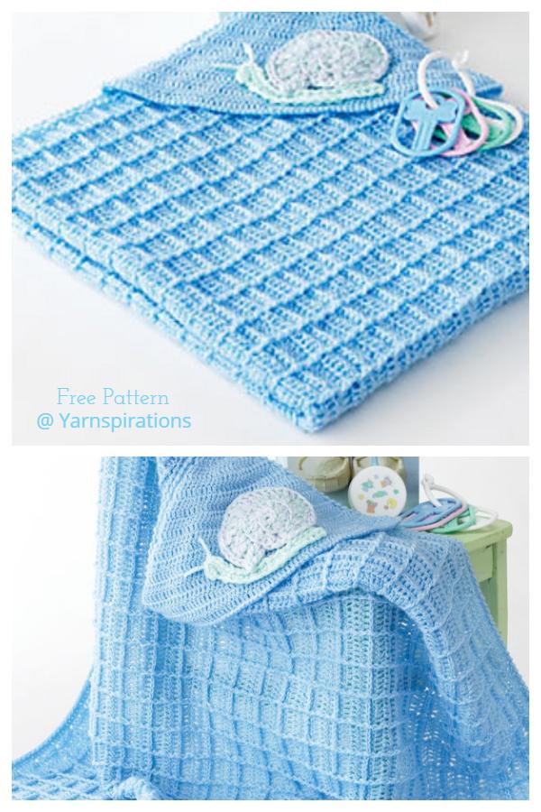 Snail Hooded Waffle Stitch Blanket Crochet Patterns