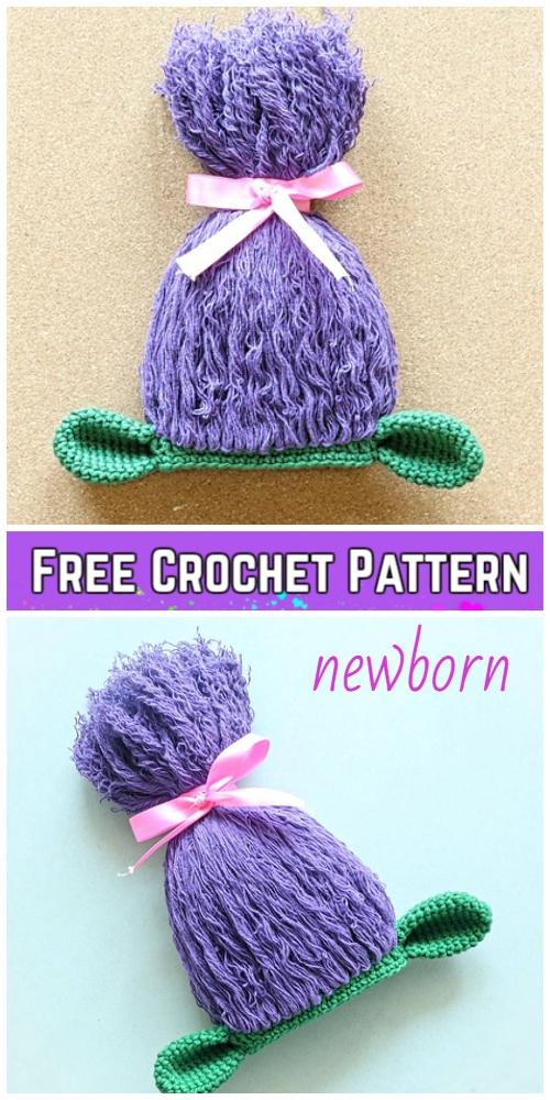 Crochet Newborn Trolls Hat Free Crochet Pattern