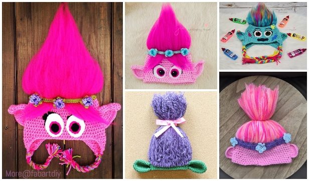 5 Crochet Poppy Troll Hat Free Crochet Patterns - DIY Magazine e6d3132372c