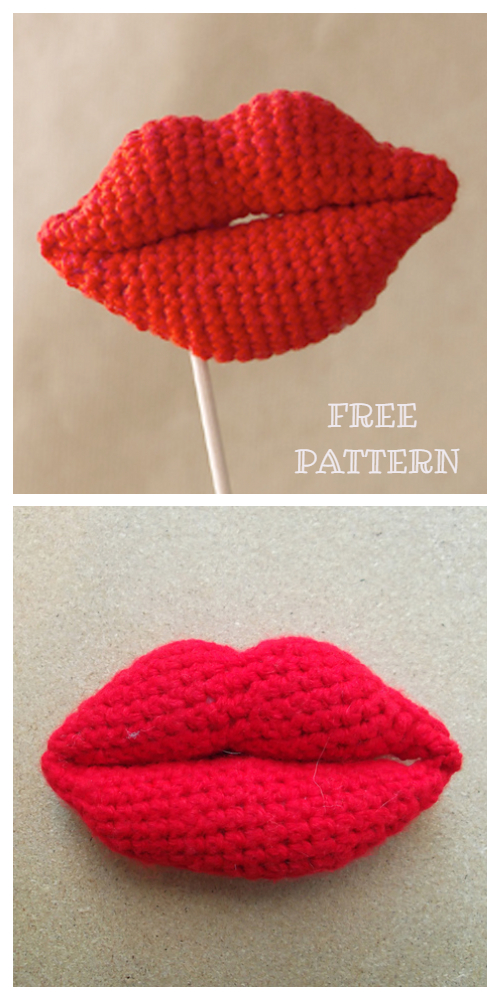 Amigurumi lips Free Crochet Patterns