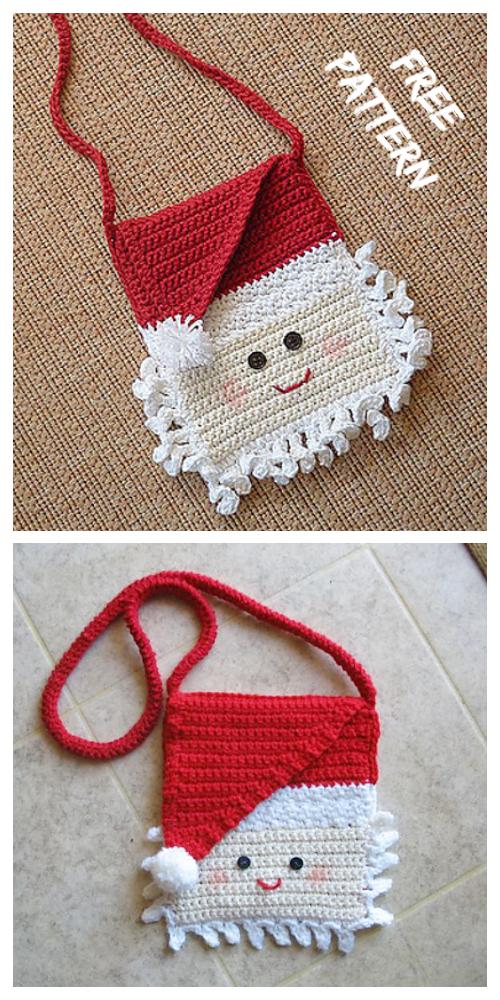 Christmas CrochetSanta Purse MessagerBag Free Crochet Pattern