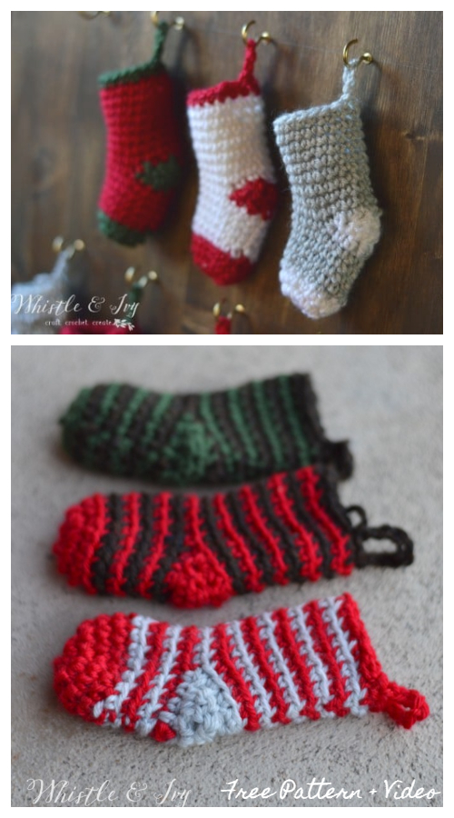 8 Crochet Mini Christmas Stockings Free Crochet Patterns - Video tutorial