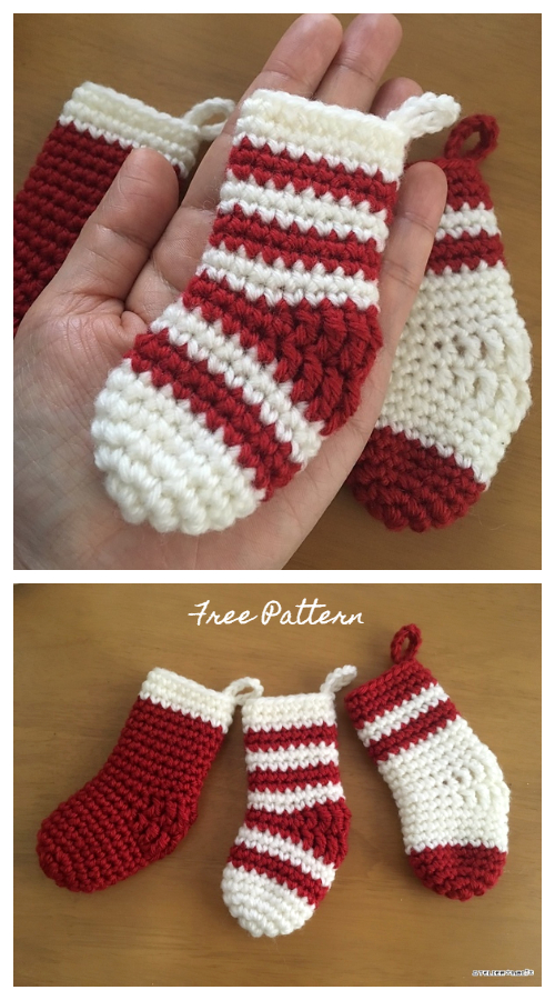 Miniture Christmas Socks Free Crochet Patterns