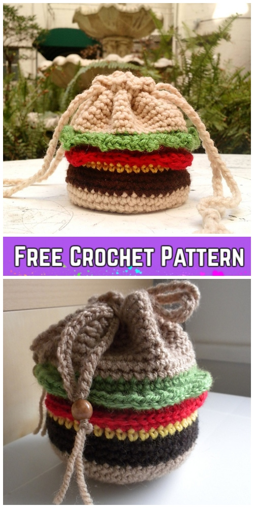 Crochet Burger Drawstring Bag Free Crochet Patterns