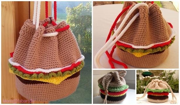 Crochet Burger Drawstring Bag Free Crochet Patterns