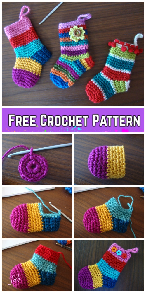 Crochet Christmas Socks Free Crochet Patterns - Video tutorial of rainbow Christmas stocking