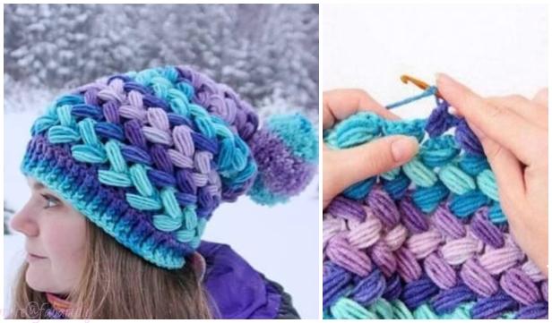Crochet Cross Bean Puff Beanie Hat Free Crochet Pattern - Video