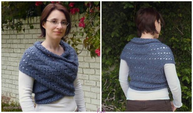 Crochet Eyelet Ripple Scarf Cowl Vest Free Crochet Pattern