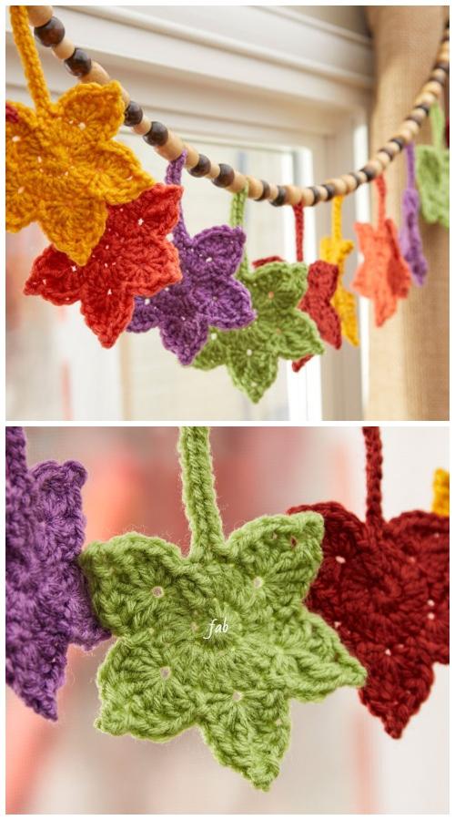 CrochetFall Leafy Banner Free Crochet Pattern