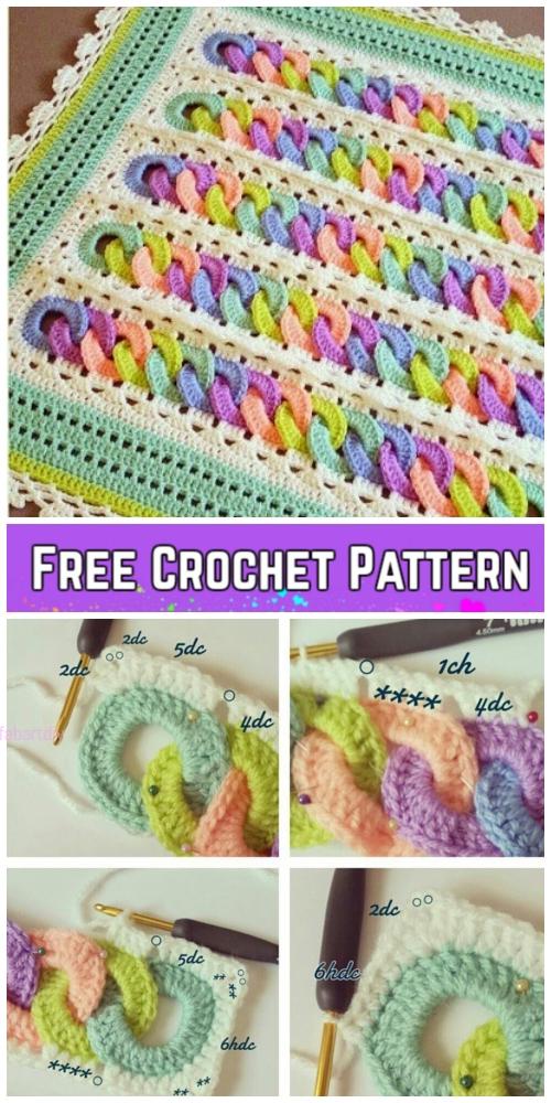Crochet Interlocking Rainbow Ring Baby Blanket Free Crochet Pattern