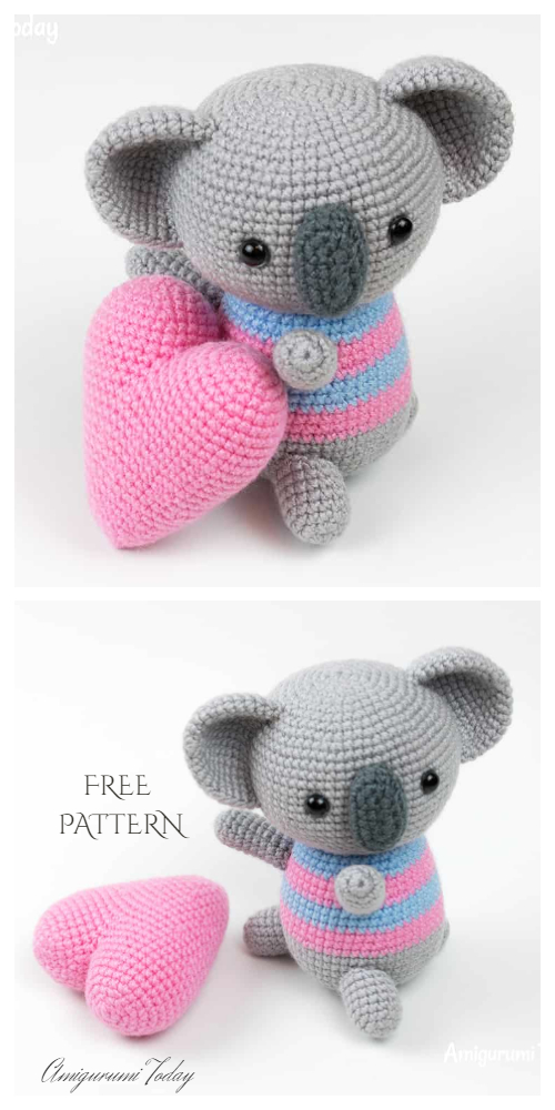 Crochet Koala with Heart Toy Softies Amigurumi Free Pattern