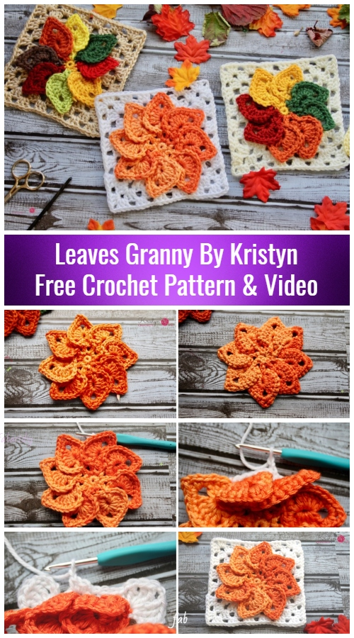 Crochet Leaves Granny Square Free Crochet Patterns - Video