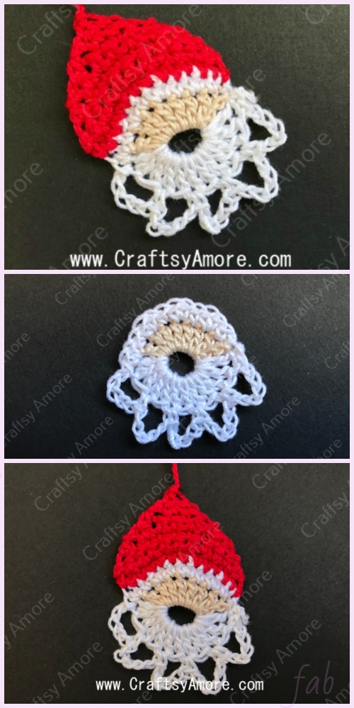 Crochet Little Santa Applique Free Crochet Pattern