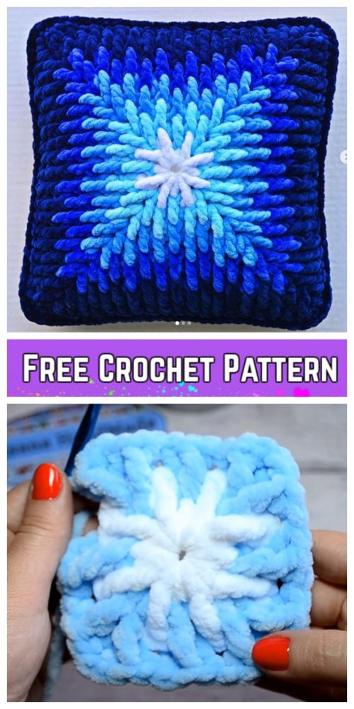 Crochet Ombre Plush Square Pillow Cover Free Crochet Pattern - Video