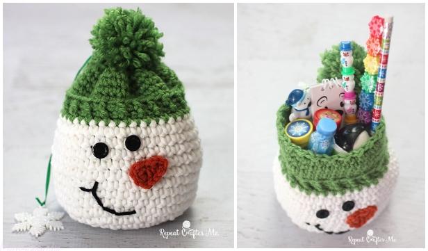 Crochet Snowman Gift SackFree Crochet Pattern