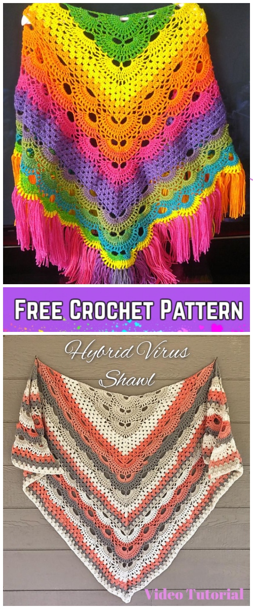 Crochet Virus Meets Granny Shawl Free Crochet Pattern - Video